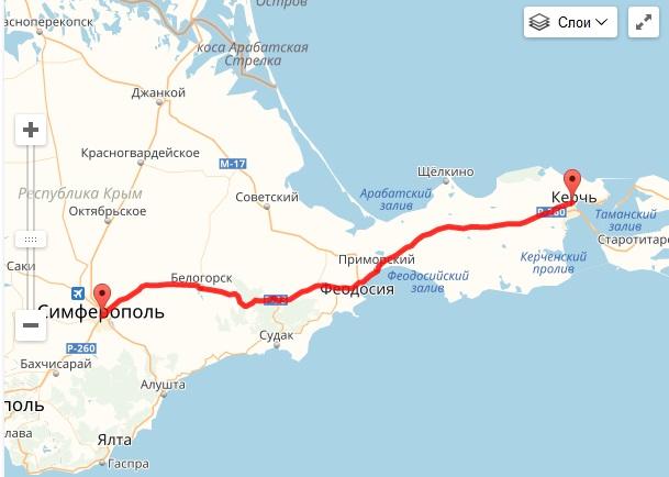 Рассчитать расстояние по Крыму